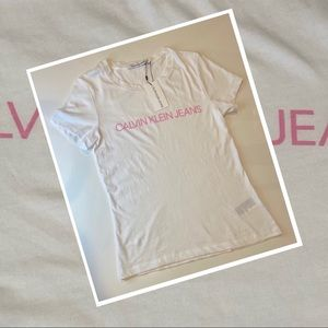 Womens Calvin Klein Jeans Institute Logo Slim Tee White Pink size large slim fit